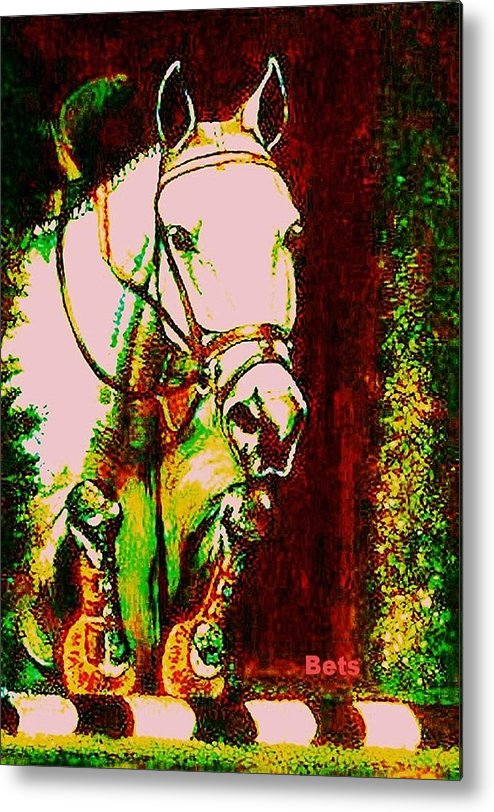Horse Metal Print featuring the painting Horse Painting Jumper No Faults Reds Greens by Bets Klieger