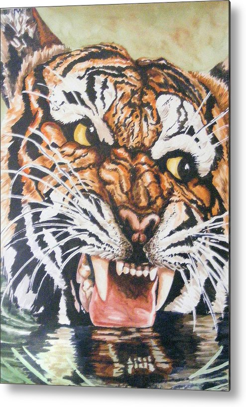 Tiger Metal Print featuring the painting Im Drinking Here by Donald Dean