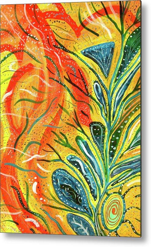 Abstract Yoga Paintings Watercolors Inspirational Berkshires Lenox Sacred Scott Harrington Metal Print featuring the painting Intimacy by Scott Harrington