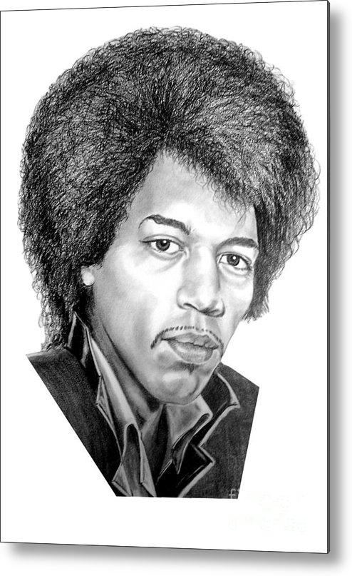 Jimmi Hendrix Metal Print featuring the drawing Jimmi Hendrix By Murphy Art. Elliott by Murphy Elliott