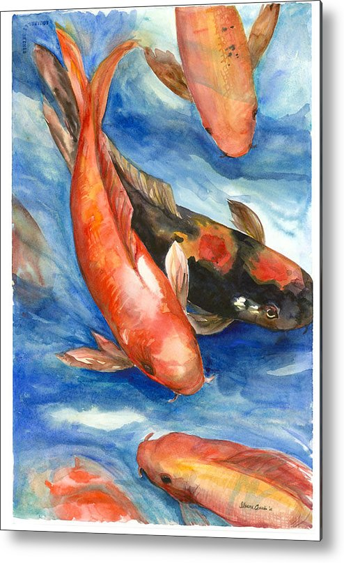 Fishes Metal Print featuring the painting Koi Fish by Ileana Carreno