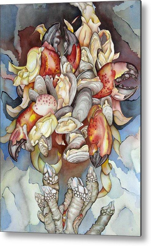 Sealife Metal Print featuring the painting La Mer En Rouge by Liduine Bekman