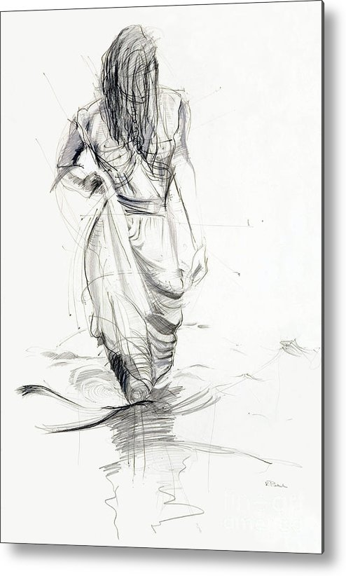 Woman Metal Print featuring the drawing Lady In The Waters by Kerryn Madsen-Pietsch