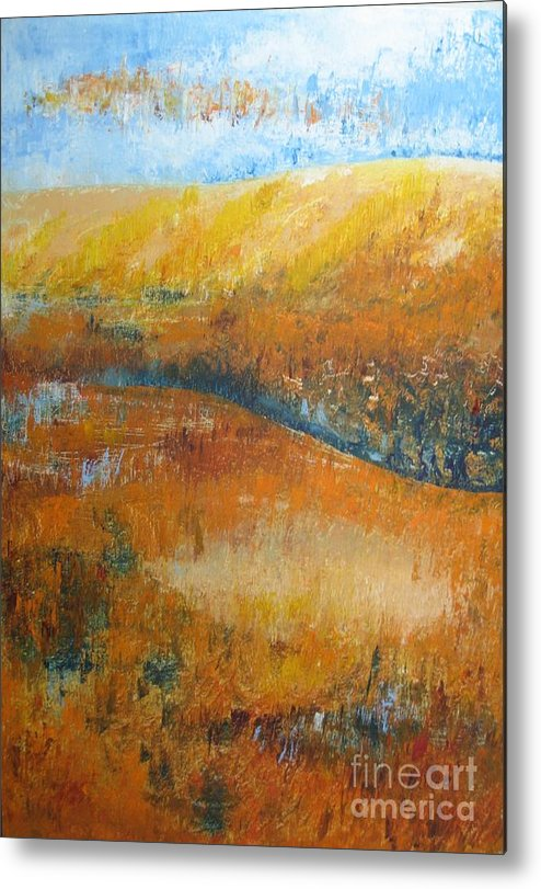 Landscape Metal Print featuring the painting Land Of Richness by Stella Velka