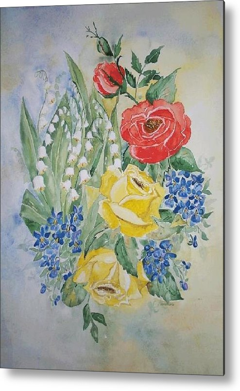 Roses Flowers Metal Print featuring the painting Lilly Of The Valley In Good Company by Irenemaria Amoroso
