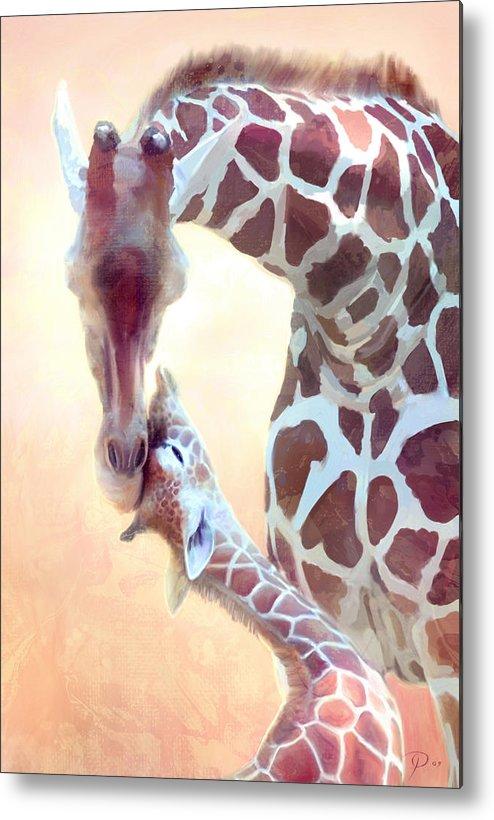 Giraffe Metal Print featuring the digital art Longest Love by Joel Payne