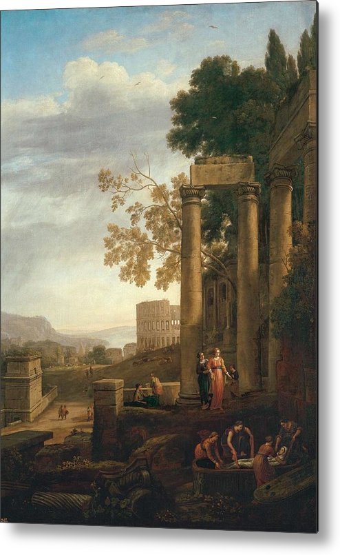 Nature Metal Print featuring the painting Lorena, Claudio De Chamagne, 1600 - Roma, 1682 Landscape With The Burial Of Saint Serapia Ca. 1639 by LORENA CLAUDIO DE Chamagne