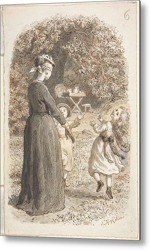 Girl Metal Print featuring the painting Lorenz Frolich Danish, Copenhagen 1820-1908 Hellerup, A Mother And Two Children Playing Blind Man' by Lorenz Frolich Danish