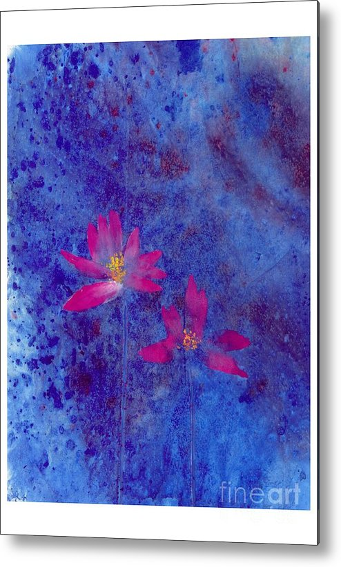 Free Style Lotus Flowers In Dreamy Blue Background. This Is A Contemporary Chinese Ink And Color On Rice Paper Painting With Simple Zen Style Brush Strokes.  Metal Print featuring the painting Lotus II by Mui-Joo Wee
