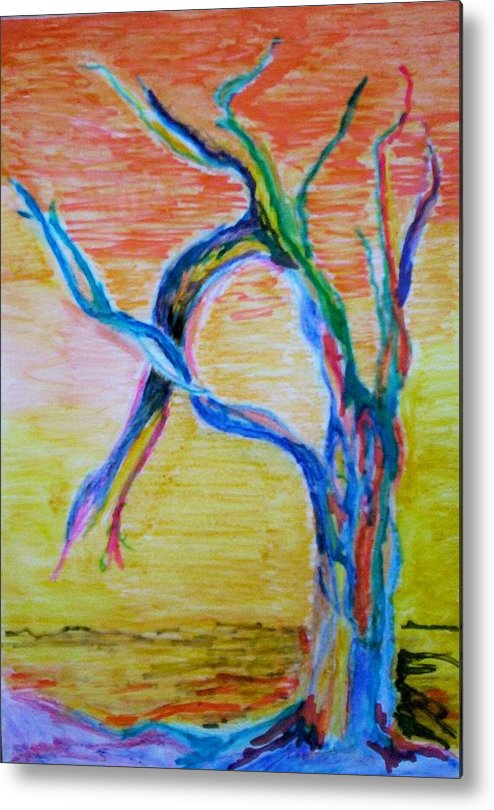 Abstract Painting Metal Print featuring the painting Magical Tree by Suzanne Udell Levinger