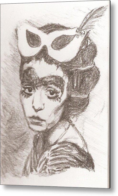 Metal Print featuring the drawing Mardi Gras by Maya Lewis