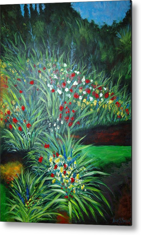 Landscape Metal Print featuring the painting Maryann's Garden 3 by Nancy Mueller