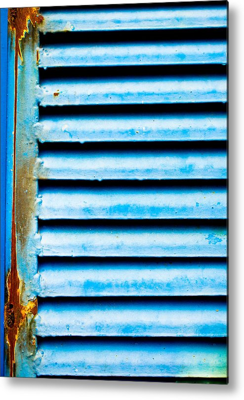Abstract Metal Print featuring the photograph Metallic Shutter by Tom Gowanlock