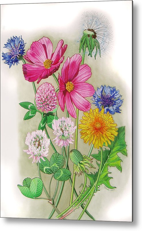Flowers Metal Print featuring the painting Midsummer Day Dream by Vlasta Smola