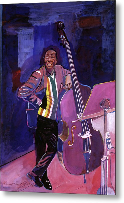 Jazz Metal Print featuring the painting Milt Hinton Jazz Bass by David Lloyd Glover