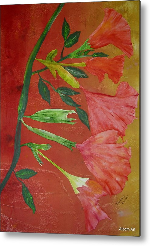 Angel Trumpet Metal Print featuring the painting Monoprint Of Angel Trumpet by Brenda Alcorn