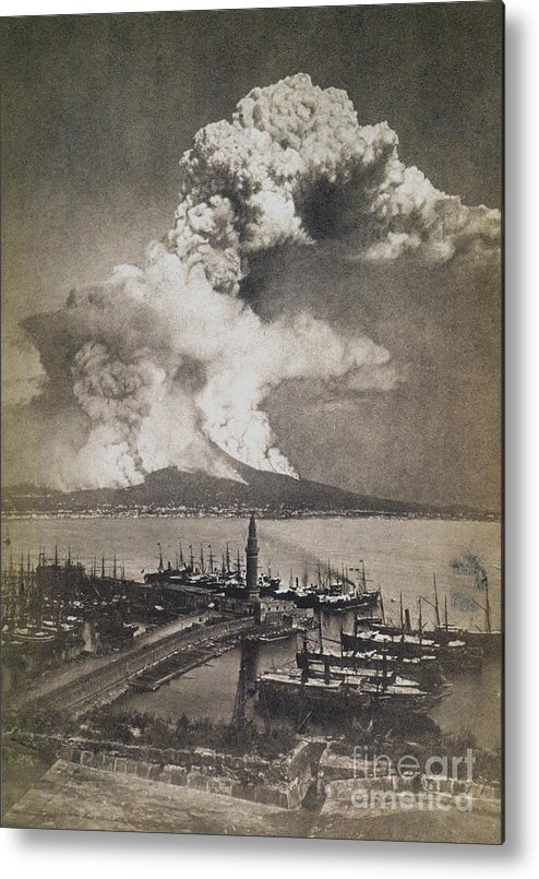 1872 Metal Print featuring the photograph Mt. Vesuvius Erupting by Granger