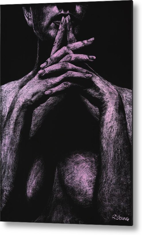 Nude Metal Print featuring the pastel Museful by Richard Young
