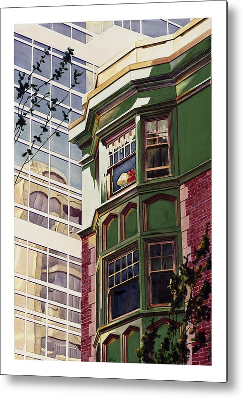 Apartment Window World Flat Building Modern Deco Shade Sun Light Contrast Old New Metal Print featuring the painting My Corner Of The World by Mike Hill