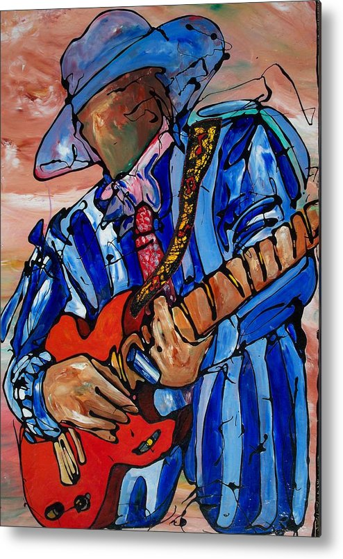Music Metal Print featuring the painting Nameless The Wailer by Ernie Scott- Dust Rising Studios