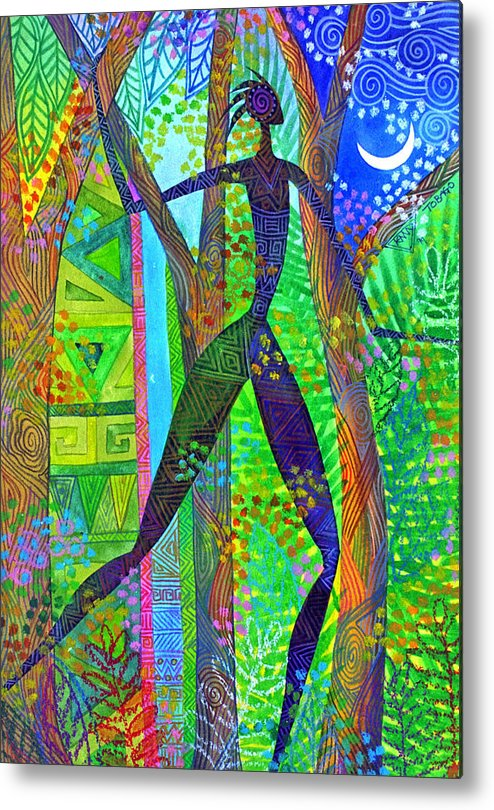 Jungle Tropical Night African Figure Mysterious Metal Print featuring the painting Night Quest by Jennifer Baird