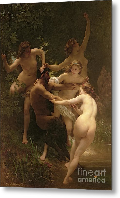 Nymphs And Satyr Metal Print featuring the painting Nymphs And Satyr by William Adolphe Bouguereau