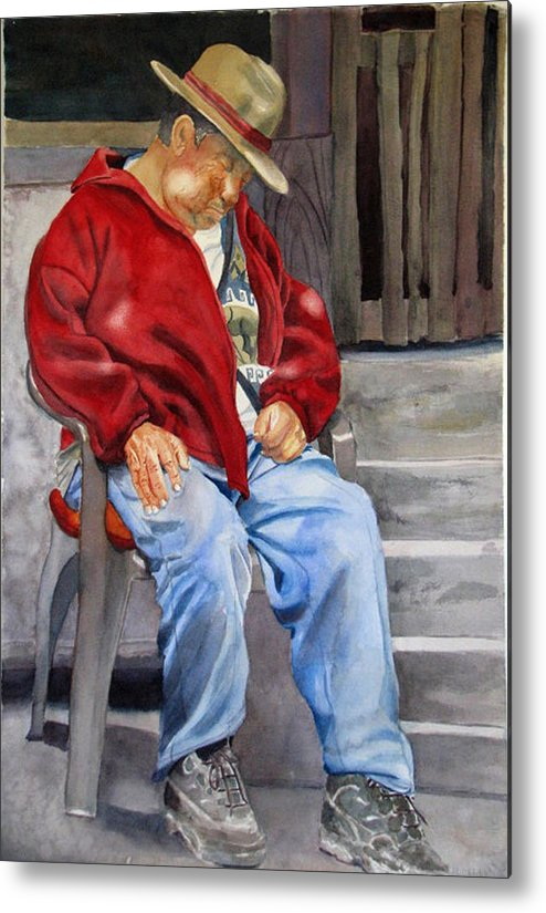 Man Metal Print featuring the painting Old Man Resting by Libby Cagle