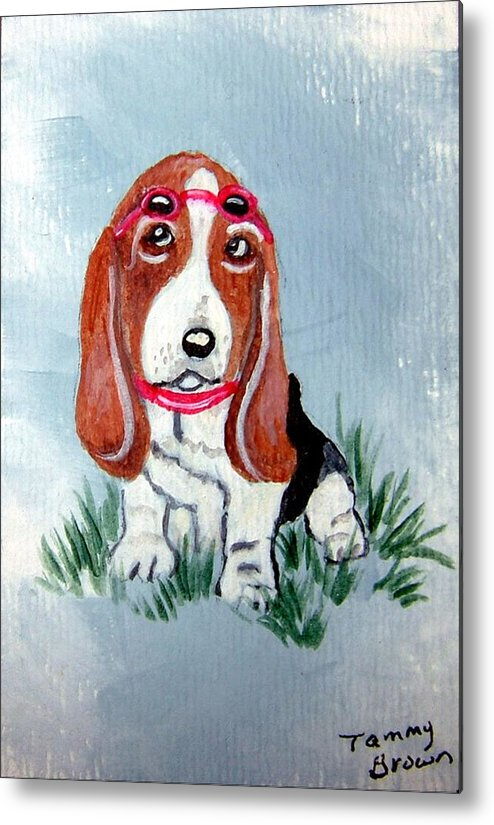 Basset Hound Metal Print featuring the painting One Cool Basset Hound by Tammy Brown