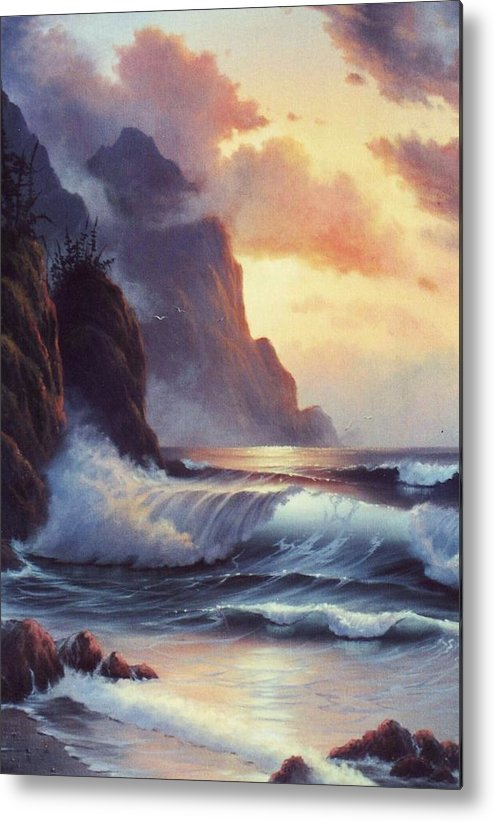 Sunset Of Oregon Coast  Seascape Metal Print featuring the painting Oregon Sunset by Lynne Parker