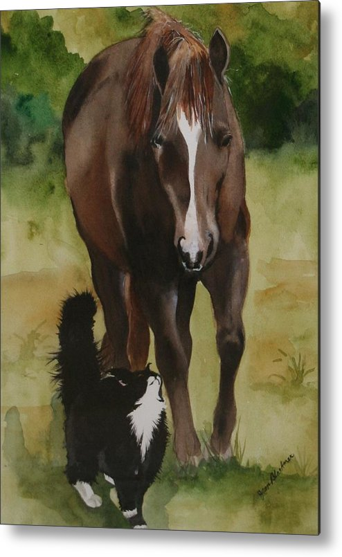 Horse Metal Print featuring the painting Oscar And Friend by Jean Blackmer