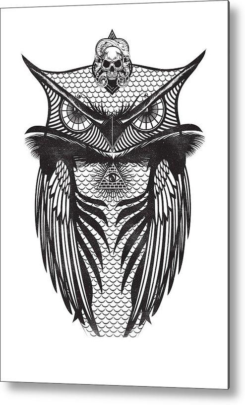 Owl Illustration Metal Print featuring the digital art Owl Illustration by IamLoudness Studio