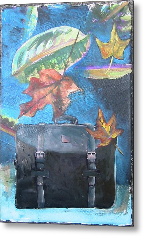 Suitcase Metal Print featuring the mixed media Packed Bag by Tilly Strauss