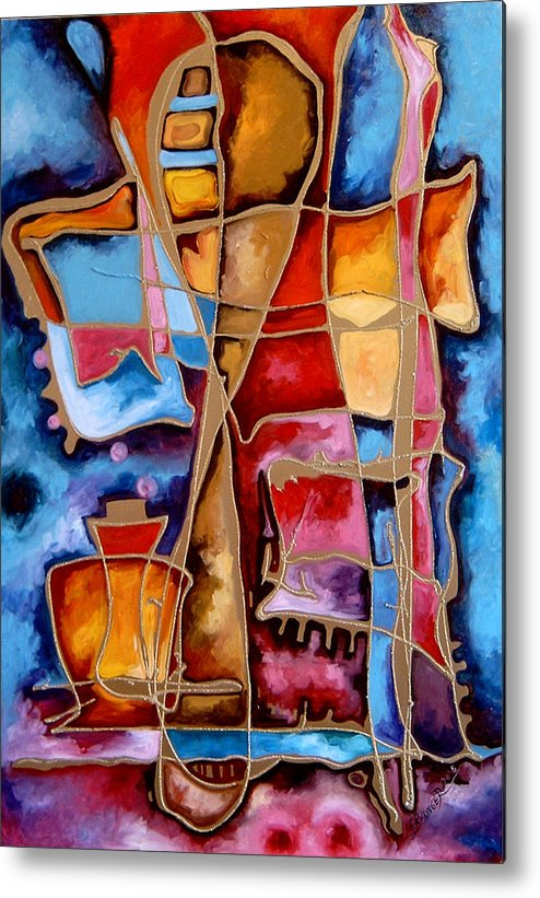Abstract Metal Print featuring the painting Pocalul De Nisip by Elena Bissinger
