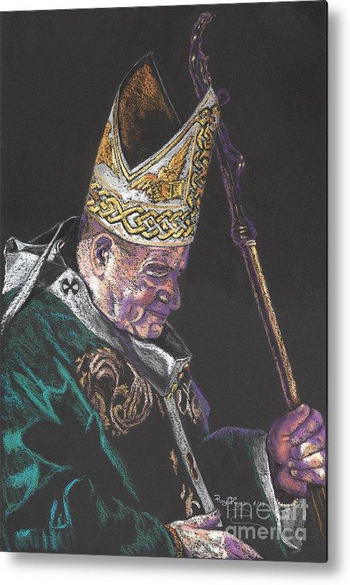 Pope John Paul: Metal Print featuring the painting Pope John Paul by Sandra Pryer