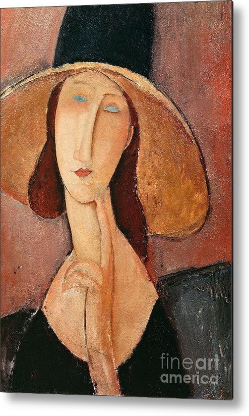 Portrait Metal Print featuring the painting Portrait Of Jeanne Hebuterne In A Large Hat by Amedeo Modigliani