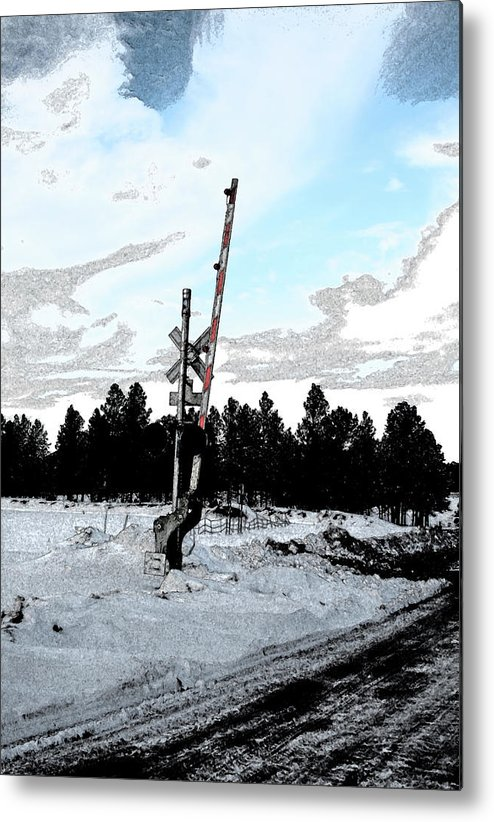 Railroad Metal Print featuring the photograph Railroad Crossing by Charles Benavidez