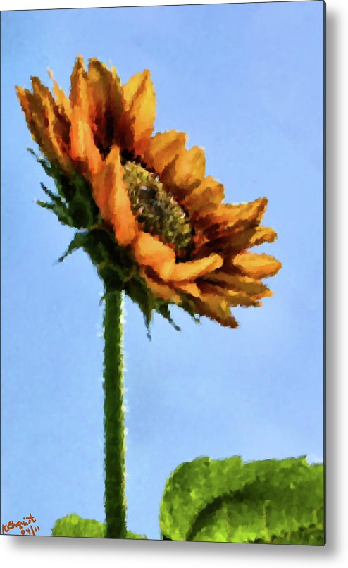 Sunflower Metal Print featuring the painting Reach For The Sun by Kristin Elmquist
