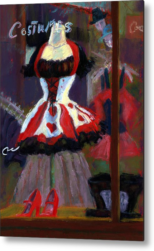 Red Black White Jester Costume Mardi Gras Holloween Ritz Exotic Night Store Window Metal Print featuring the painting Red And Black Jester Costume by Cheryl Whitehall