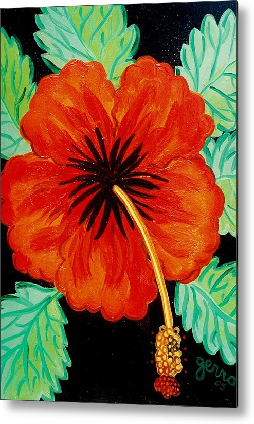 Hibiscus Artwork Metal Print featuring the painting Red Hibiscus by Helen Gerro
