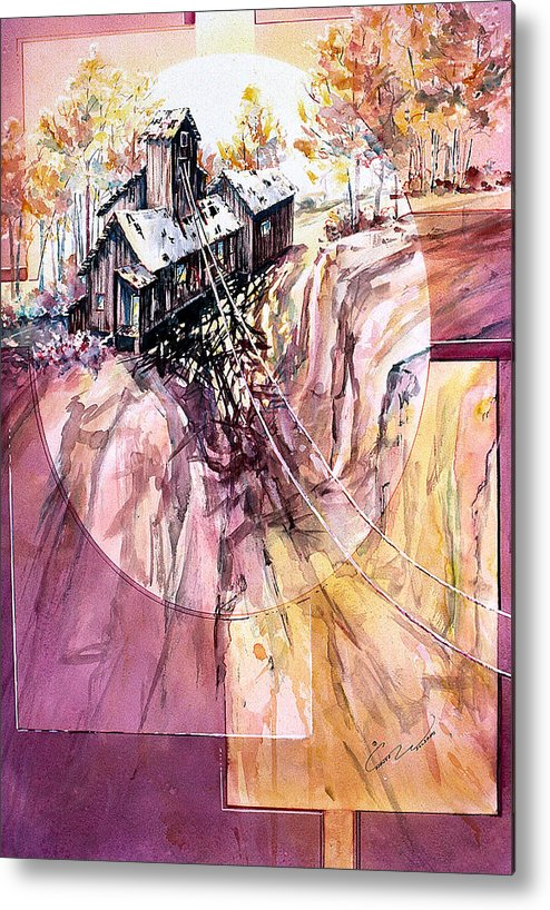 Red Mountain Metal Print featuring the painting Red Mountain Mine by Connie Williams