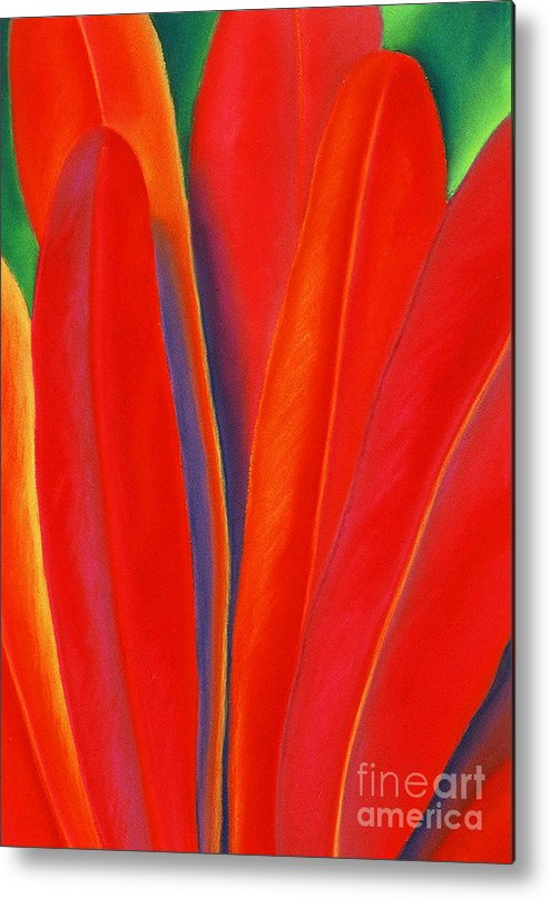 Red Metal Print featuring the painting Red Petals by Lucy Arnold