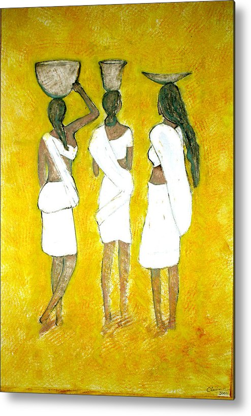 Women Metal Print featuring the painting Return From Market by Narayanan Ramachandran