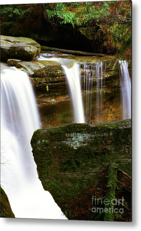 Waterfall Metal Print featuring the photograph Rock And Waterfall by Thomas R Fletcher