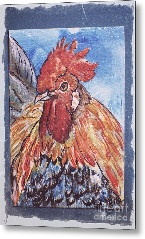 Rooster Metal Print featuring the painting Rooster Country Painting On Blue by Ella Kaye Dickey