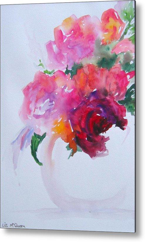 Flower Metal Print featuring the painting Rosebowl 1 by Liz McQueen