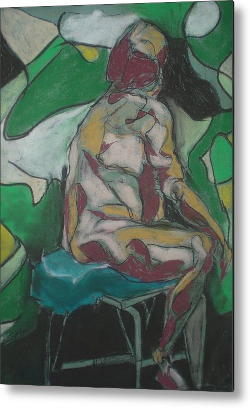 Seated Nude Metal Print featuring the painting Seated Nude by Aleksandra Buha