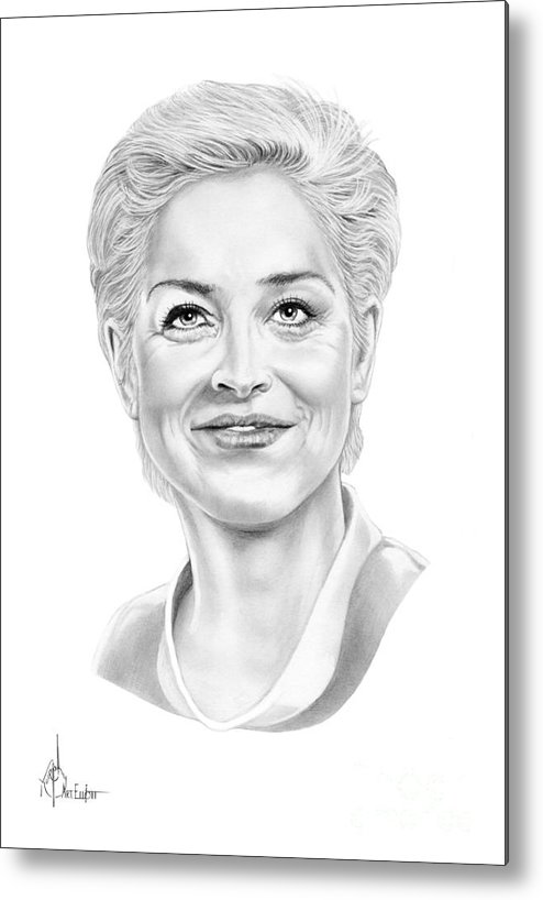 Drawing Metal Print featuring the drawing Sharon Stone by Murphy Elliott