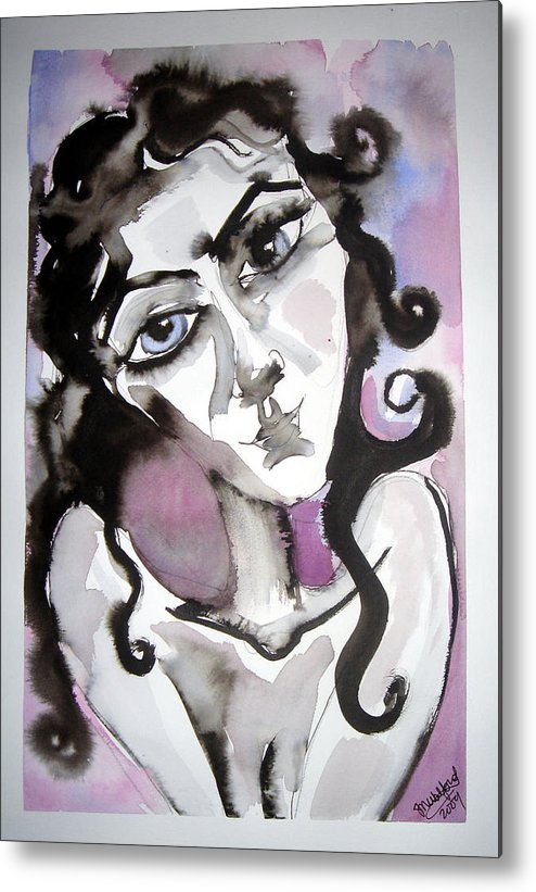 Portrait Metal Print featuring the painting She Only Hopes... by Jenni Walford