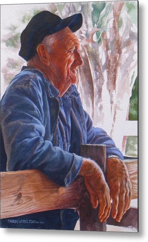 Rancher Metal Print featuring the painting Sheepman by Marion Hylton