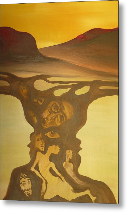 Surrealist Metal Print featuring the painting Shipwreck by Zsuzsa Sedah Mathe